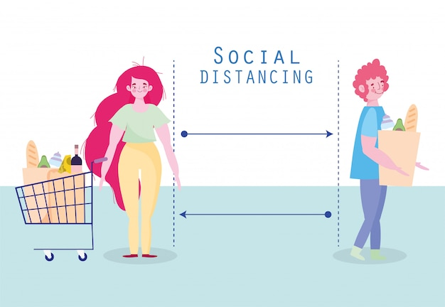 Covid 19, профилактика социального дистанцирования, мужчина и женщина с корзиной держать дистанцию
