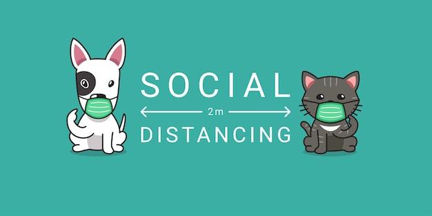 Covid-19 보호 개념 만화 캐릭터 개와 고양이 보호 얼굴 마스크 사회적 거리를 착용