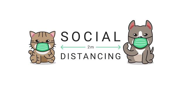 Covid-19 protection concept cartoon cute cat and dog wearing protective face mask social distancing