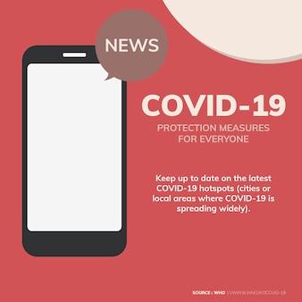 La protezione da covid-19 misura il messaggio di consapevolezza del coronavirus