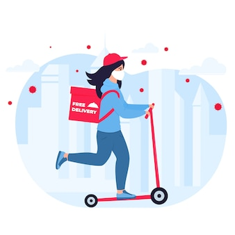 Covid-19. quarantine in the city. coronavirus epidemic. delivery girl in a protective mask carries food on a scooter. free shipping.