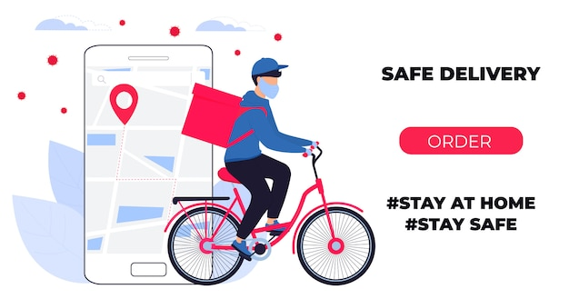 Covid-19. quarantine in the city. coronavirus epidemic. delivery man in a protective mask carries food on a bike. web page design templates. stay home.