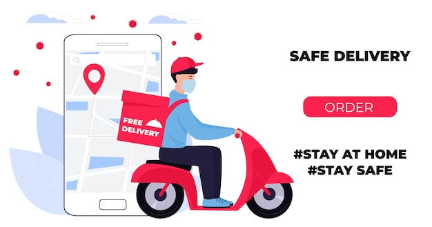Covid-19. quarantine in the city. coronavirus epidemic. delivery man in a protective mask carries food on a motorbike. web page design templates. stay home.