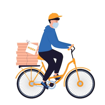 Covid-19. quarantine. coronavirus epidemic. delivery man in a protective mask carries pizza on a bicycle.