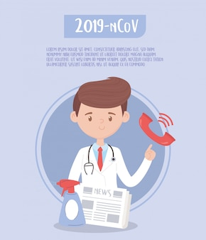 Covid 19 quarantine, doctor with newspaper and hands spray sanitizer   illustration