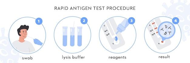 Инфографика процедуры экспресс-теста на антиген covid-19. врач берет мазок из носа у пациента мужского пола.