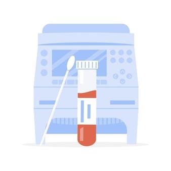 Covid-19 rt pcr машина и пробирка с тампоном или зонд с кровью. усилитель звука. вектор
