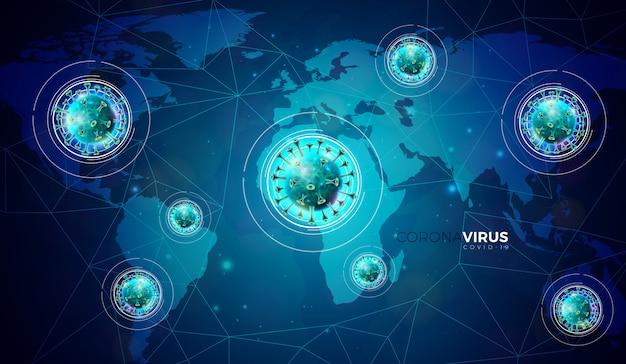 Covid-19。抽象的な青い世界地図背景に顕微鏡ビューでウイルス細胞とコロナウイルスの発生設計。プロモーションバナーまたはチラシの危険なsars流行図。
