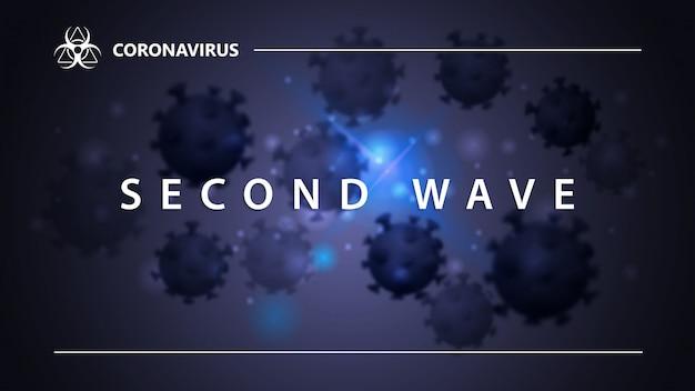Covid-19, 두 번째 물결 개념. 배경에 코로나 바이러스의 분자와 흰색 제목으로 배너. 현대적인 디자인으로 웹 사이트 또는 인쇄를위한 푸른 색의 코로나 바이러스 배경