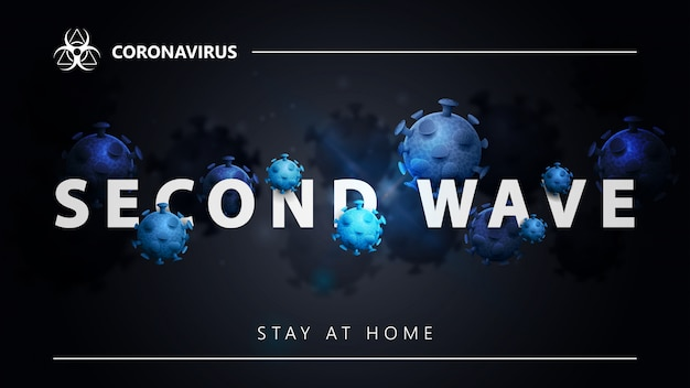 Covid-19, second wave concept. black banner with white great headline with molecules of coronavirus. coronavirus background in black colors for website or printing with modern design