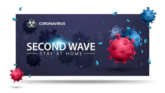 Covid-19, second wave concept. blue banner with pink and blue 3d coronavirus molecules. 3d banner with modern design. coronavirus 2019-ncov.