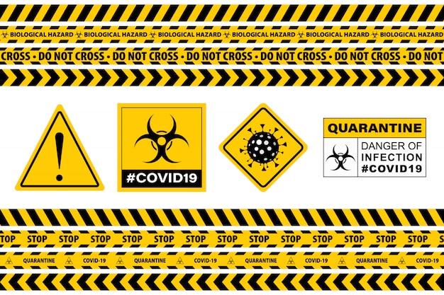 Covid-19 signを停止します。シームレス注意警告テープ。