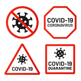 Covid-19 подписывает запрет, внимание и предупреждение. карантин 2019-нков, опасность коронавируса, предупреждение об эпидемии вируса в красном квадрате, восьмиугольные формы.