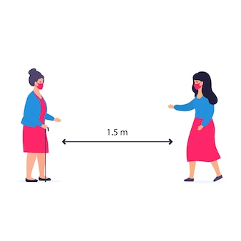 Covid-19. social distancing. old woman and girl greeting. coronavirus epidemic protective equipment. preventive measures. steps to protect yourself.