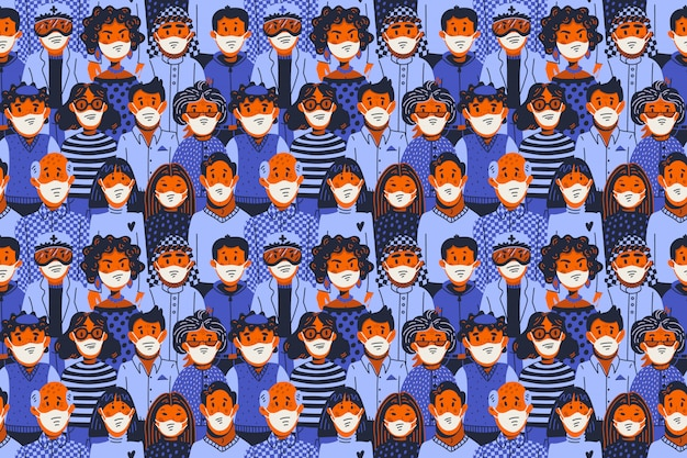 流行のシームレスパターン。新規コロナウイルスcovid-19、医療用マスクの人々。ウイルスのspread延、パンデミック。