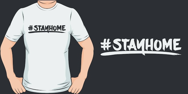 #家にいる。ユニークでトレンディなcovid-19 tシャツデザイン。