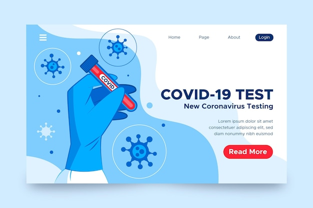 Covid-19 test landing page concept