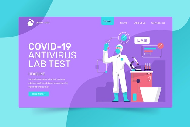 Covid-19テストのランディングページスタイル