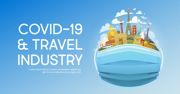 Covid-19 and travel industry  illustration