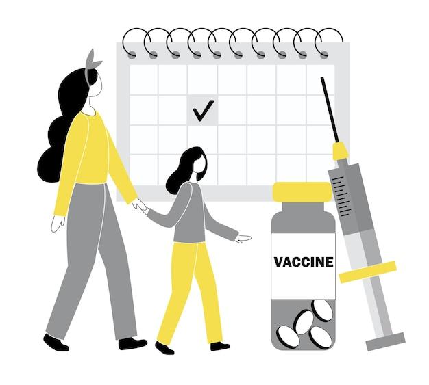 Концепция вакцинации против covid-19. девочка собирается сделать прививку от гриппа. люди в плоском стиле. в иллюстрации в мультяшной цветовой тенденции.