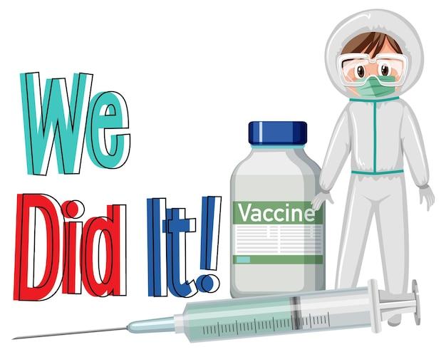 Концепция вакцинации против covid-19 с мультипликационным персонажем доктора