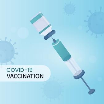 파란색 코로나바이러스 영향을 받는 배경에 백신 병 안에 주사기가 있는 코비드-19 예방 접종 개념.