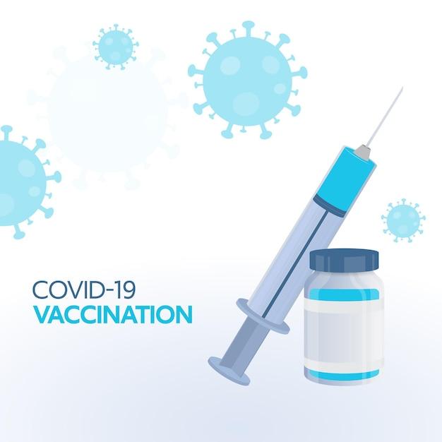 흰색 코로나바이러스 영향을 받는 배경에 주사기 근처에 백신 병이 있는 코비드-19 예방 접종 개념.