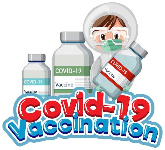 Covid-19ボトルを保持している医師とcovid-19ワクチン接種フォント