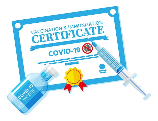 Covid-19 vaccination passport. vaccinated health document as proof person is immune to disease.