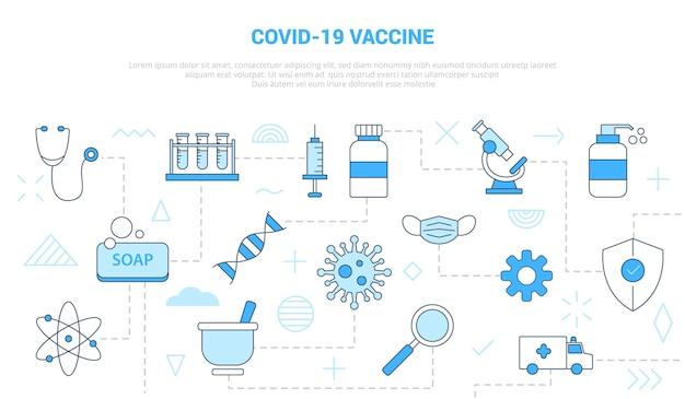 Концепция вакцины covid-19 с набором иконок, шаблон баннера с современной иллюстрацией стиля синего цвета