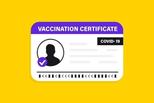 Covid-19ワクチンパスポート。タイムパンデミックの旅行のための予防接種証明書、医療カードまたはパスポート。予防接種カード、男性と女性のベクトルイラスト。国際イミュニティ証明書