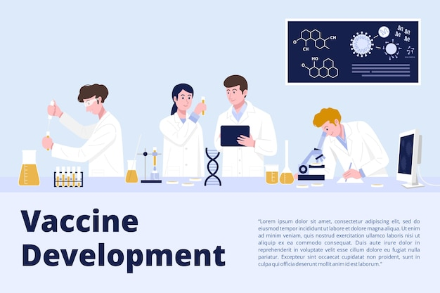 Covid-19ワクチン研究コンセプト、実験室で働く医学研究科学者。