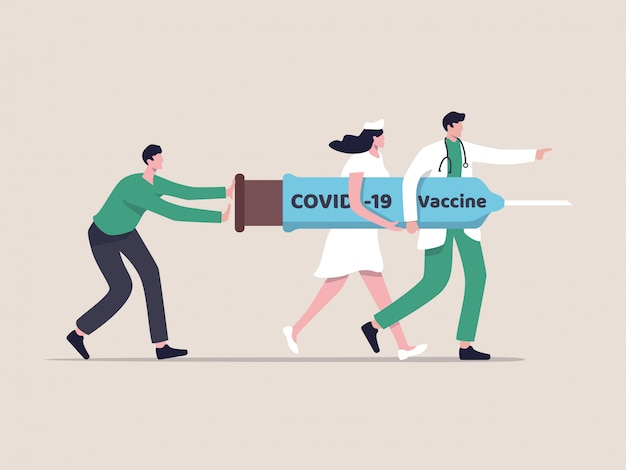Covid-19 vaccine treatment or medicine to cure coronavirus concept, medical professional doctor, nurse and patient help carry covid-19 vaccine syringe and needle and walking to kill virus, flat design
