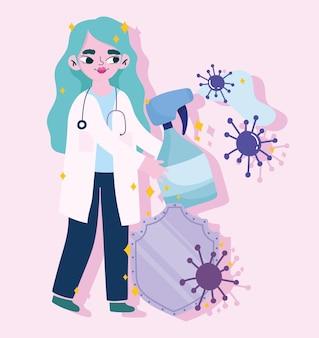 Covid 19 바이러스 및 2019 ncov cov 및 코로나 바이러스 테마의 알코올 스프레이 및 방패 디자인의 여성 의사