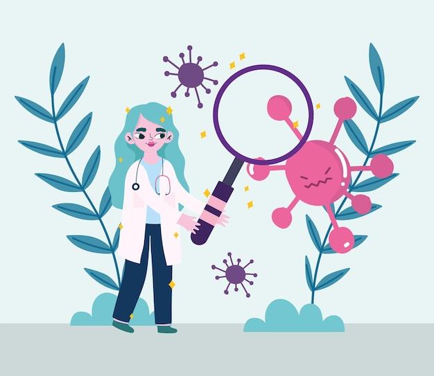 2019 년 ncov cov 및 코로나 바이러스 테마의 루페와 잎 디자인을 가진 covid 19 바이러스 및 여성 의사