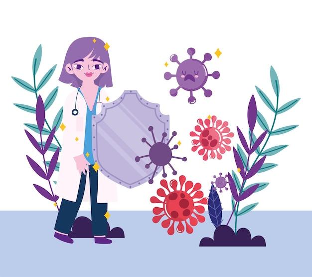 2019 ncov cov 및 코로나 바이러스 테마의 방패 디자인을 가진 covid 19 바이러스 및 여성 의사