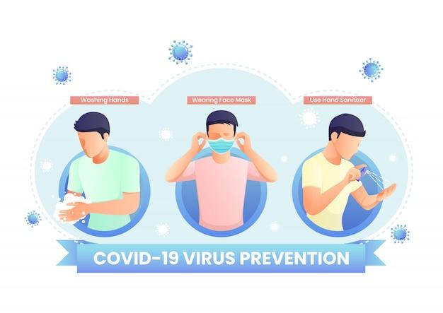 Covid-19 virus or coronavirus prevention infographic