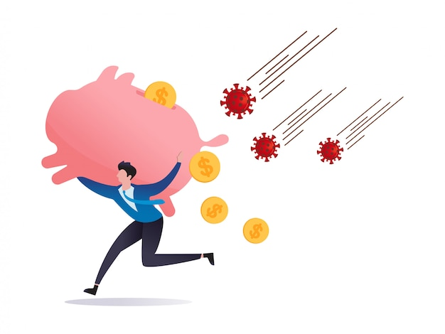 Covid-19 virus impact stock market panic sell, risk off or investor sell in financial crisis, investor run away from covid-19 coronavirus pathogen with huge piggy bank on shoulder, dollar money fall.