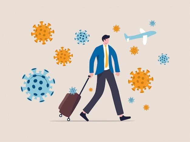 Covid-19ウイルスは旅行と観光に影響を与え、旅行者の概念、covid-19ウイルス病原体に囲まれた空港を歩いている荷物を持ったビジネスマン旅行者によって広まった新しいコロナウイルスの大流行。