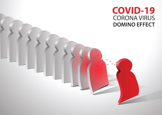 Covid-19 virus pathogen impact domino create fall domino effect. Premium Vector