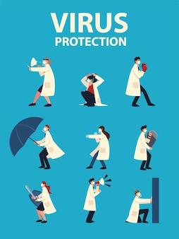 Covid 19 바이러스 보호 및 의사와 마스크 및 2019 ncov cov 및 코로나 바이러스 테마 세트 디자인