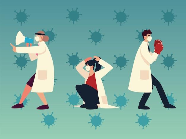 Защита от вирусов covid 19 и врачи с масками, перчатками и мегафоном, дизайн 2019 ncov cov и тема коронавируса