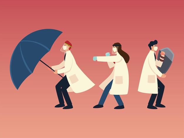Защита от вирусов covid 19 и врачи с масками, щитом и дизайном зонтика 2019 ncov cov и тема коронавируса