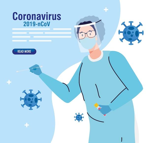 마스크 안경과 ncov cov 및 코로나 바이러스 테마의 균일 한 디자인을 갖춘 covid 19 바이러스 테스트 의사