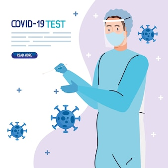 Ncov cov 및 코로나 바이러스 테마의 마스크 유니폼 디자인의 covid 19 바이러스 테스트 의사