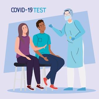 Ncov cov 및 코로나 바이러스 테마의 의자 디자인에 covid 19 바이러스 테스트 의사 여자와 남자