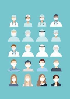 医療スタッフ、医師、看護師、外科医、防護医療スタッフ、およびパンデミックコロナウイルスcovid-19アウトブレイクで漫画のキャラクターのアイコンとしてマスクを着用している患者の若者