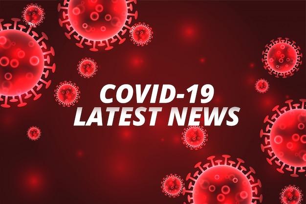 Covid-19最新ニュースコロナウイルス赤背景コンセプト