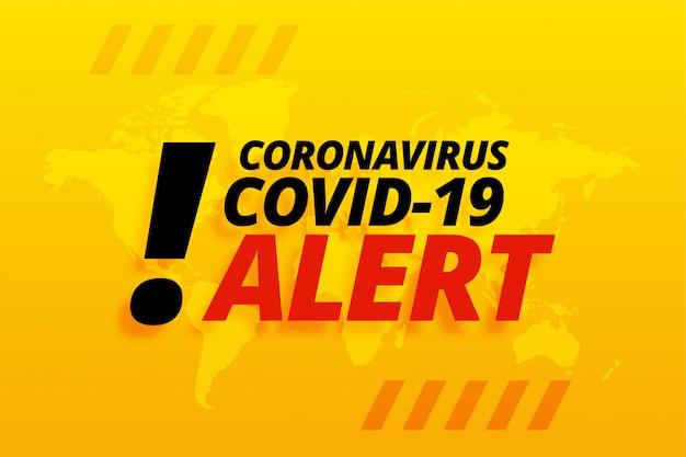 新規コロナウイルスcovid-19警告黄色背景デザイン