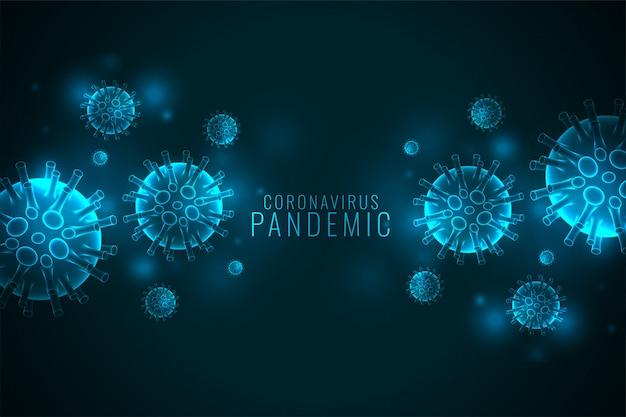 コロナウイルスcovid-19パンデミックバナーとウイルス細胞